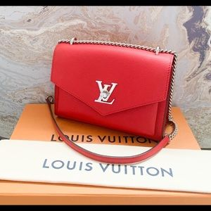 Louis Vuitton My Lockme BB Red Leather Chain Bag